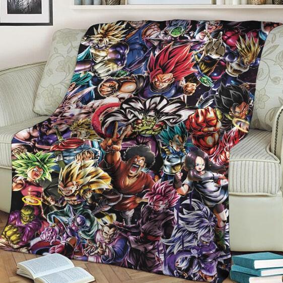 Dragon Ball Legends Collage Of Characters Goku Vegeta Throw Blanket