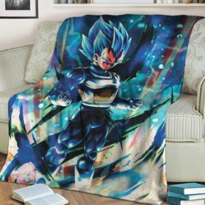 Dragon Ball Legends Vegeta Super Saiyan Blue Electrifying Fleece Blanket