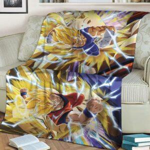 Dragon Ball Majin Vegeta Son Goku Dokkan Art SSJ2 Throw Blanket
