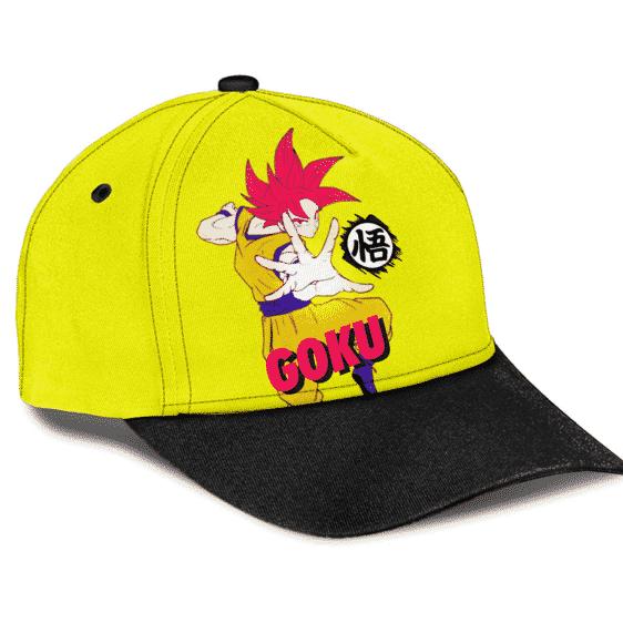 Dragon Ball Super Saiyan God Form Goku Wisdom Kanji Baseball Cap