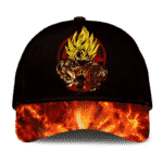 Dragon Ball Super Son Goku SSJ2 Cool Artwork Fire Black Classic Dad Cap