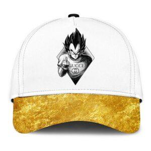 Dragon Ball Vegeta Middle Finger Gucci Gold Dope Dad Baseball Hat