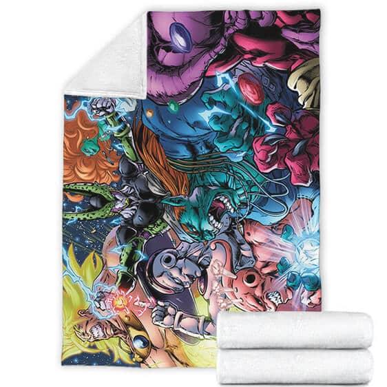 Dragon Ball Villains Cell Buu Frieza Broly Comic Style Artwork Fleece Blanket