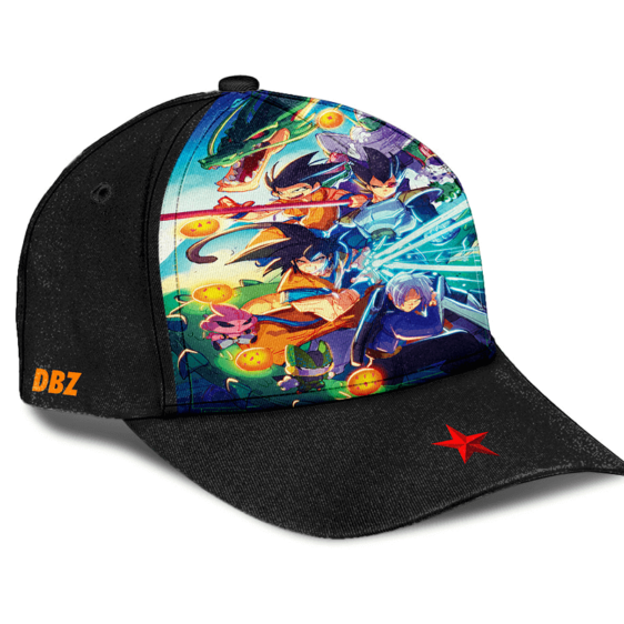 Dragon Ball Z Classic Z Fighters Team Over All Print Trucker Hat