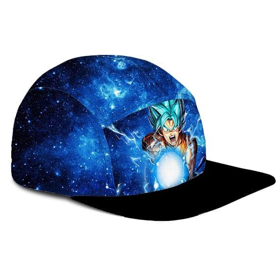 Dragon Ball Z Kamehameha Goku SSGSS Galaxy Blue 5 Panel Hat