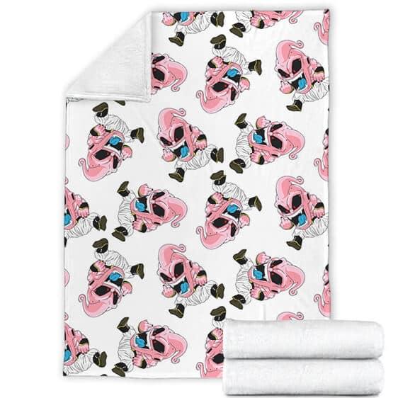 Dragon Ball Z Kid Buu Chibi Middle Finger White Pink Blanket