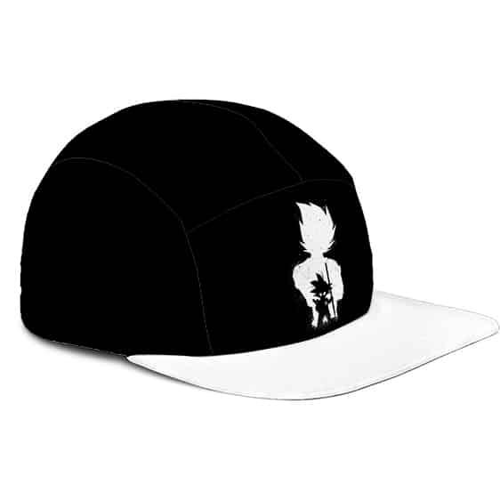 Dragon Ball Z Kid Goku Vegeta Silhouette Minimalist Black White 5 Panel Hat