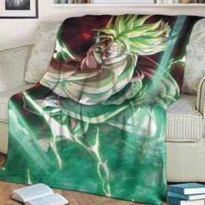 Dragon Ball Z Legendary Broly SSJ2 Green Aura Throw Blanket