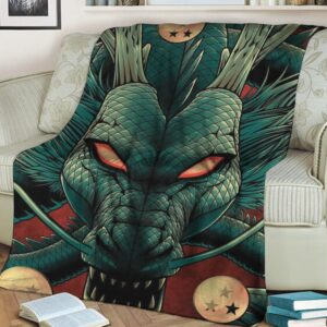 Dragon Ball Z Mighty Powerful Shenron Green Red Blanket