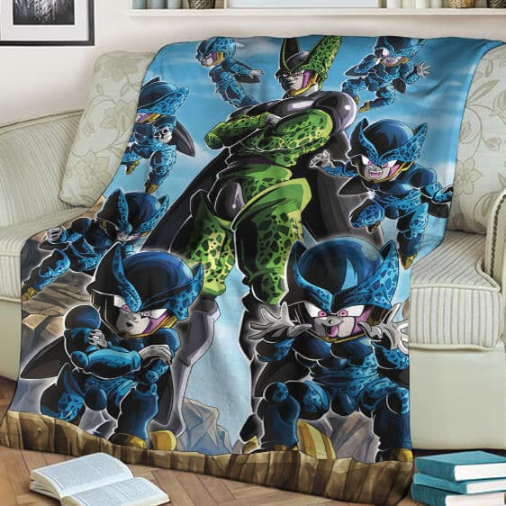 Dragon Ball Z Perfect Cell And Cell Junior Amazing Throw Blanket
