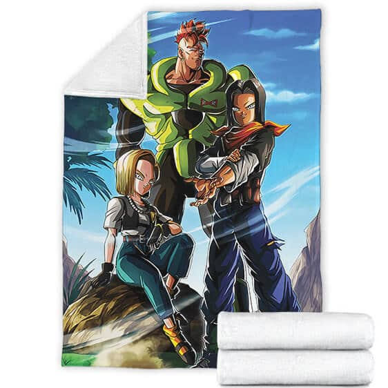 Dragon Ball Z Red Ribbon Army Android 16 17 18 Fleece Blanket