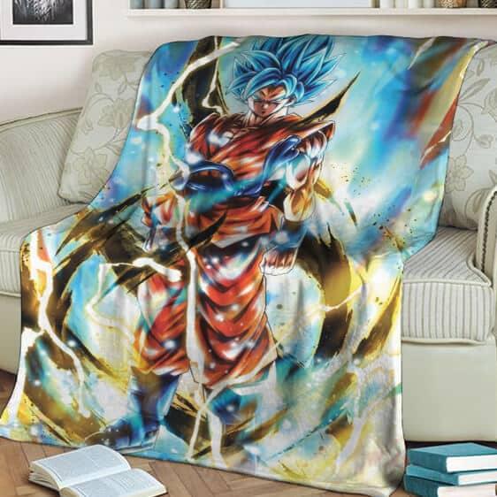 Dragon Ball Z Son Goku Super Saiyan Blue Awesome Throw Blanket