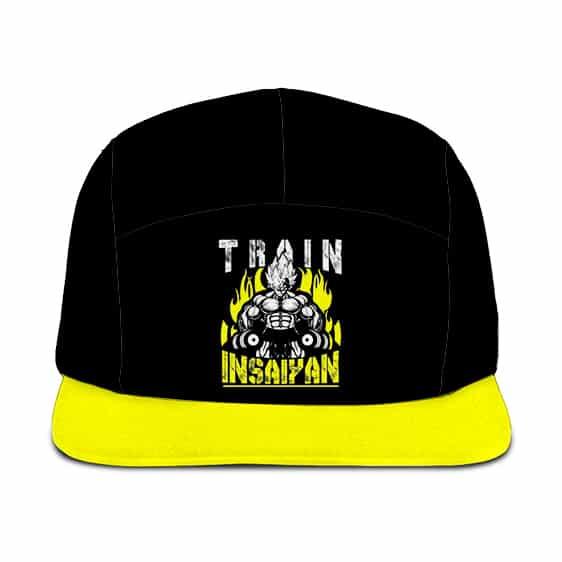 Dragon Ball Z Train Insaiyan Vegeta Black Neon Yellow Five Panel Cap