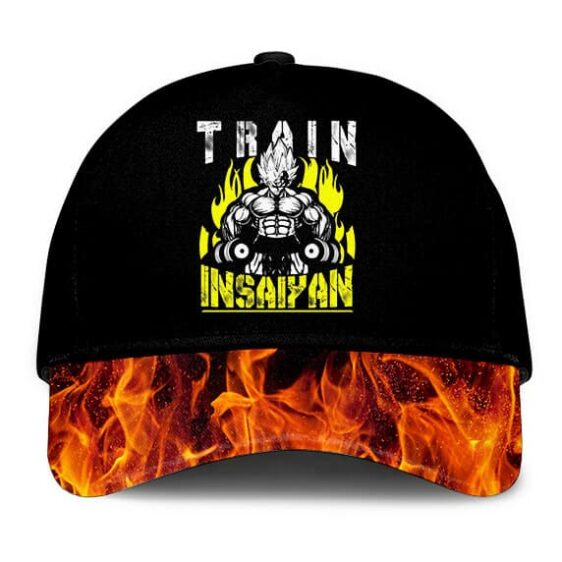 Dragon Ball Z Vegeta Train Insane Insaiyan Flame Black Dad Baseball Hat