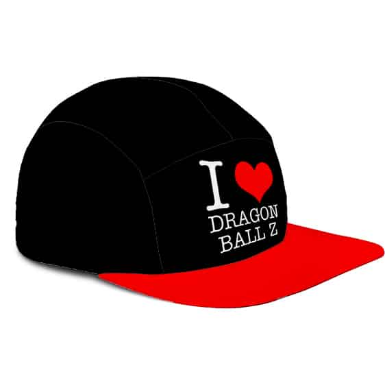 I Love Dragon Ball Z Design Black Red Cool Five Panel Cap