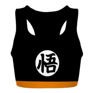 Kid Goku Silhouette DBZ Black and Orange Awesome Sports Bra