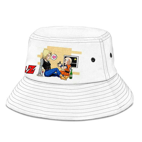 Krillin and Android 18 Dragon Ball Z White Cool Bucket Hat