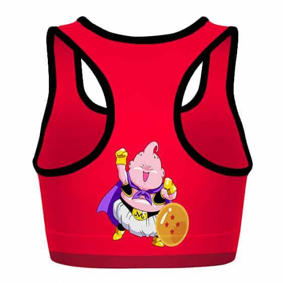 Majin Buu and the Dragon Balls DBZ Pink and Red Sports Bra