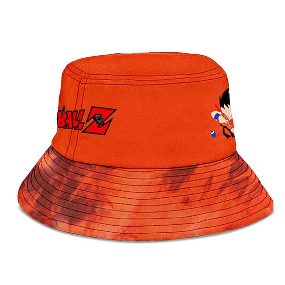 Orange Minimalist Tie Dye Kid Goku Dragon Ball Bucket Hat