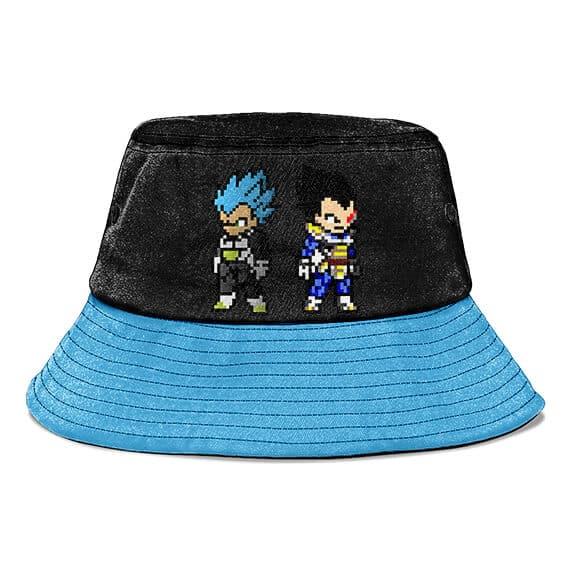 SSJ Blue Vegeta Pixelated DBZ Form Black and Blue Bucket Hat