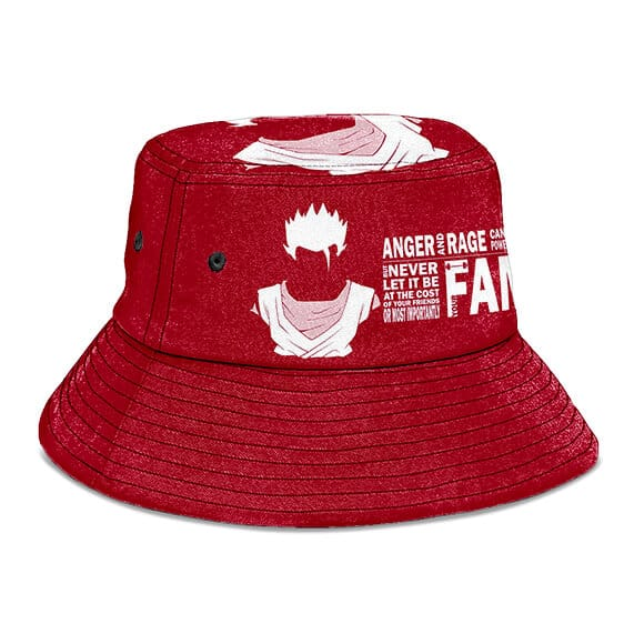 SSJ Gohan Quote Dragon Ball Z Red and Powerful Bucket Hat
