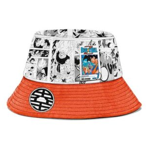 SSJ Son Goku Manga Strip White and Orange Cool Bucket Hat