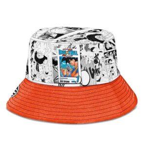 SSJ Son Goku Manga Strip White and Orange Cool Bucket Hat