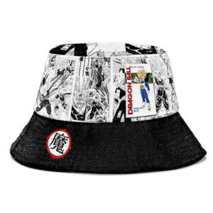 SSJ2 Son Gohan Manga Strip Black and White Cool Bucket Hat