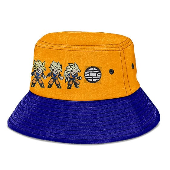 Son Goku Pixelated DBZ Form Orange and Blue Cool Bucket Hat
