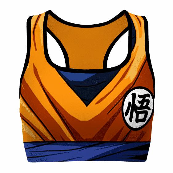 Son Goku Anime Detailed DBZ Orange Blue Awesome Sports Bra
