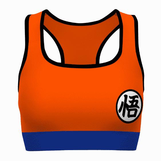 Son Goku Kanji Dragon Ball Z Orange Blue Awesome Sports Bra