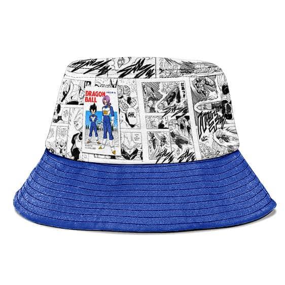 Vegeta and Trunks Manga Strip White and Blue Cool Bucket Hat