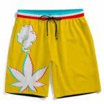 3D Five Fingered 420 Kush Dope Marijuana Yellow Boardshorts