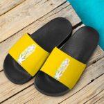 Five Fingered Kush Weed Dope Marijuana Yellow Slide Footwear
