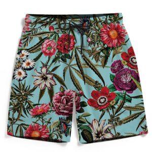 420 Floral Marijuana Bud Painting Design Men's Beach Shorts