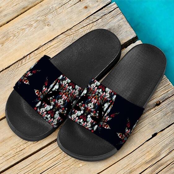 420 Marijuana Floral Painting Pattern Dope Weed Slide Sandals