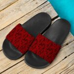 420 Marijuana Leaves Awesome Red Pattern Cool Slides Sandals