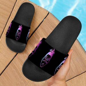 Marijuana Purple Urkle Dope Art Retro Black Slide Sandals