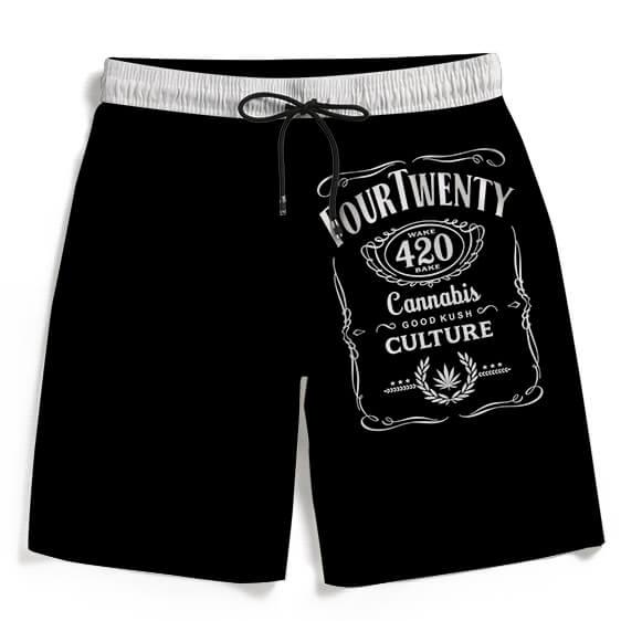 420 Wake And Bake Cannabis Kush Dope Black Men's Beach Shorts