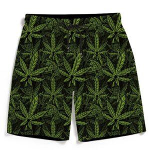420 Weed Hemp Marijuana Pattern Awesome Men's Beach Shorts