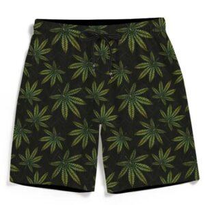 420 Weed Marijuana Doobie Kush Pattern Men's Beach Shorts