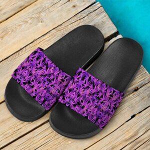 420 Weed Marijuana Vibrant Purple Pattern Dope Slide Footwear