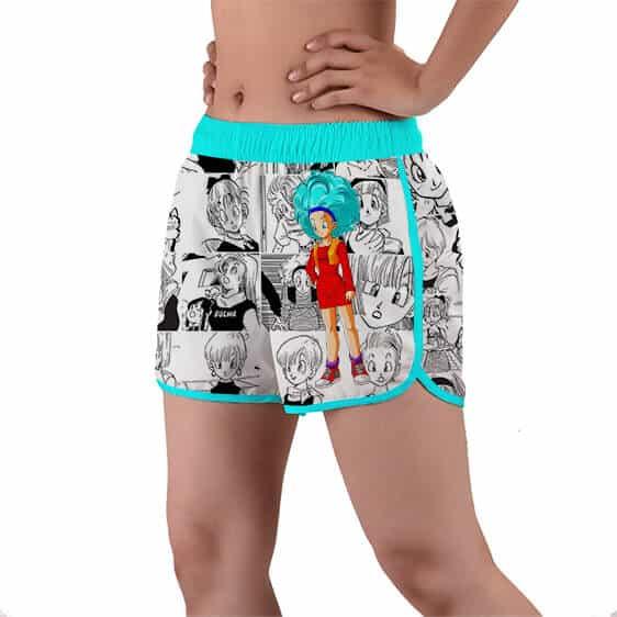 Adult Bulma Raw Comic Art Background DBZ Women's Beach Shorts