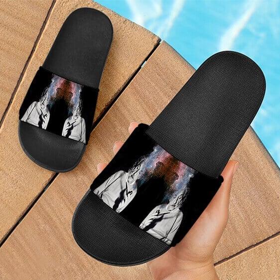 Albert Einstein Smoking Dope Galaxy Marijuana Slide Slippers