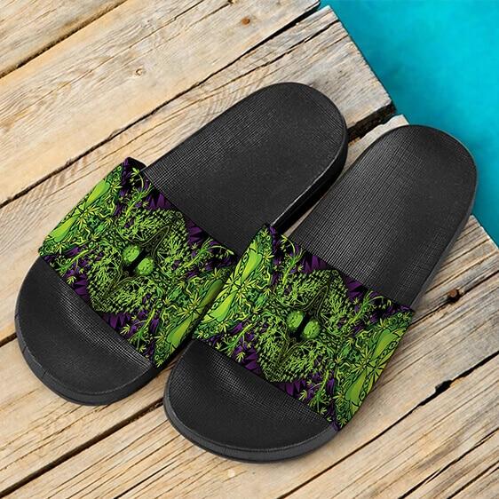 All Over Print Trippy Marijuana Design 420 Weed Slide Slippers