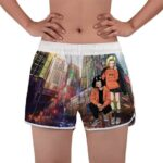 Android 18 And 17 Skyscrapers Art DBZ Women's Beach Shorts