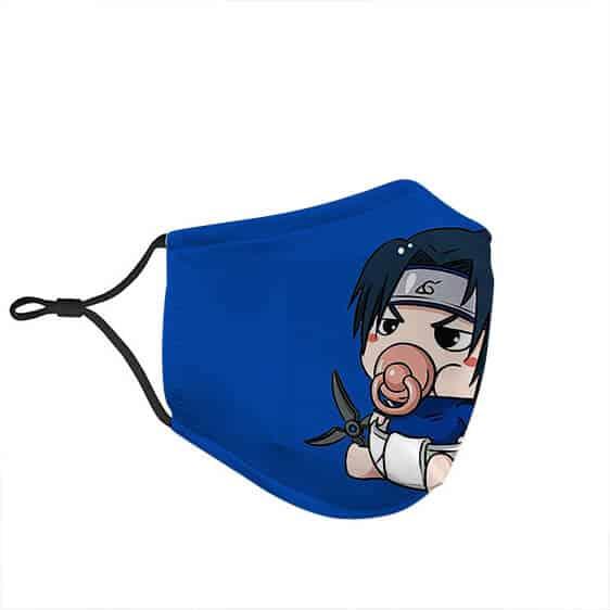 Baby Sasuke Uchiha Holding Shuriken Naruto Filtered Face Mask