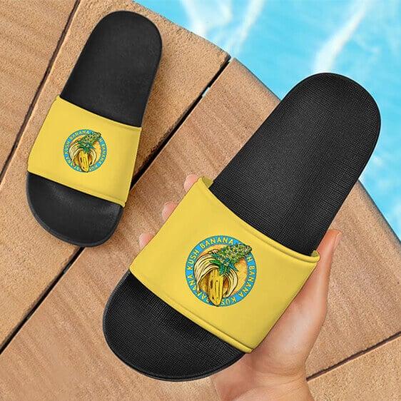 Banana Kush Marijuana Weed Strain Logo Yellow Slide Sandals