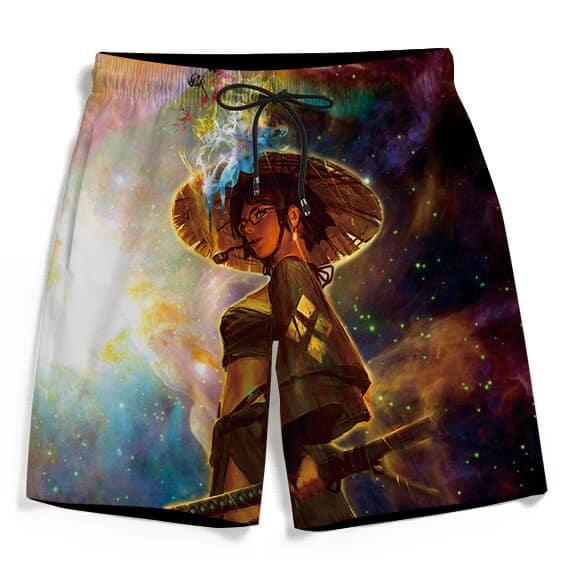 Beautiful Samurai Girl Smoking Galaxy Art Cool Men's Shorts