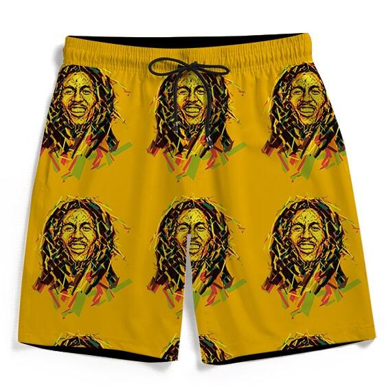 Bob Marley Artistic Painting Orange Men's Beach Shorts